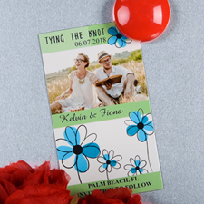 Create And Print Green And Ocean Floret Personalized Photo Magnet 2x3.5 Card Size