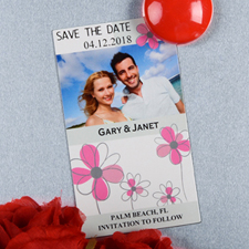 Create And Print Grey And Pink Floret Personalized Photo Magnet 2x3.5 Card Size