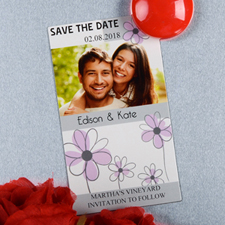 Create And Print Grey And Silver Floret Personalized Photo Magnet 2x3.5 Card Size