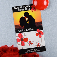 Create And Print Black And Red Floret Personalized Photo Magnet 2x3.5 Card Size