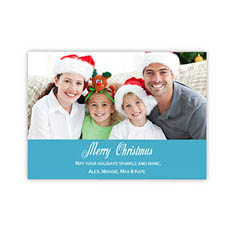 Personalized Merry Christmas  Blue Invitation Holiday Cards