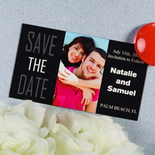 Create And Print Black Big Day Personalized Save The Date Magnet 2x3.5 Card Size