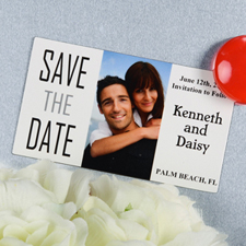 Create And Print White Big Day Personalized Save The Date Magnet 2x3.5 Card Size