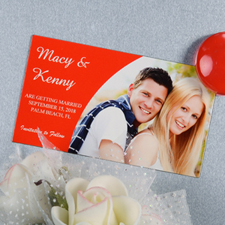 Create And Print Red Simple Personalized Photo Magnet 2x3.5 Card Size