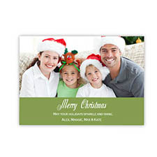 Personalized Merry Christmas  Green Invitation Holiday Cards