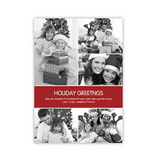 Personalized Red 5 Photo Peace Holiday Invitation Holiday Cards