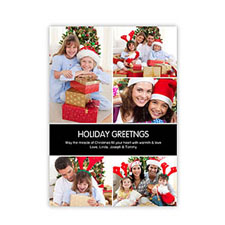 Personalized Grey Chocolate 5 Photo Peace Holiday Invitation Holiday Cards