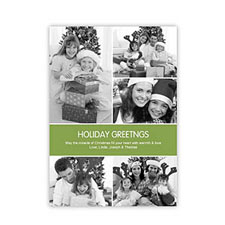 Personalized Green 5 Photo Peace Holiday Invitation Holiday Cards