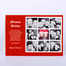 Custom Printed 9 Photo Collage Rejoice  Red Greeting Card