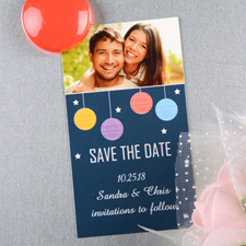 Create And Print Navy Colorful Lantern Personalized Save The Date Magnet 2x3.5 Card Size