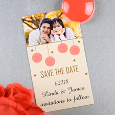 Create And Print Cream Red Lantern Personalized Save The Date Magnet 2x3.5 Card Size