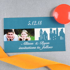 Create And Print Blue New York City Personalized Photo Wedding Magnet 2x3.5 Card Size