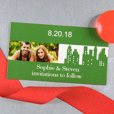 Create And Print Green New York City Personalized Photo Wedding Magnet 2x3.5 Card Size