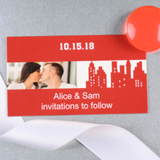 Create And Print Red New York City Personalized Photo Wedding Magnet 2x3.5 Card Size