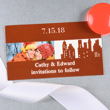 Create And Print Brown New York City Personalized Photo Wedding Magnet 2x3.5 Card Size