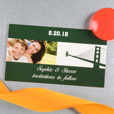 Create And Print Grey San Francisco Personalized Photo Wedding Magnet 2x3.5 Card Size