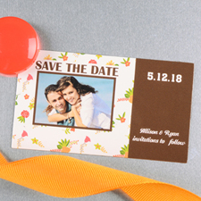Create And Print Brown Daisy Personalized Save The Date Magnet 2x3.5 Card Size