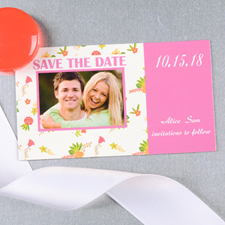 Create And Print Pink Daisy Personalized Save The Date Magnet 2x3.5 Card Size