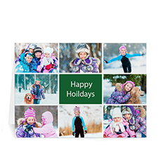 Custom Printed 8 Photo Collage Great Joy  Green Greeting Card