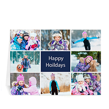 Custom Printed 8 Photo Collage Great Joy  Blue Greeting Card