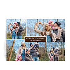 Custom Printed 4 Photo Collage Love Piece Joy  Chocolate Greeting Card