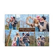 Custom Printed 4 Photo Collage Love Piece Joy  Chocolate Greeting Card
