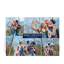 Custom Printed 4 Photo Collage Love Piece Joy  Blue Greeting Card