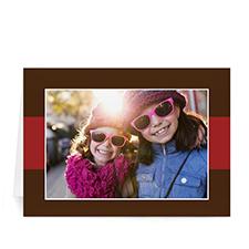 Custom Printed Merry + Happy  Brown + Red Greeting Card