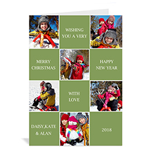 Custom Printed 6 Photo Collage Merry Merry Merry  Green Greeting Card