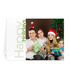 Custom Printed Green Happy Holidays Greeting Card