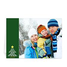 Custom Printed Green Snowflake Tree Greeting Card