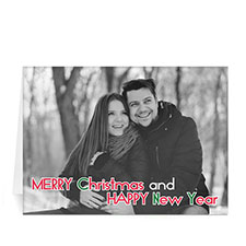 Custom Printed Colorful Snow Holiday Greeting Card