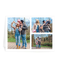 Custom Printed 3 Photo Collage  White Border Greeting Card