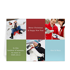 Custom Printed 3 Photo Collage Merry Glee  Red Greeting Card