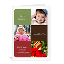 Custom Printed 3 Photo Collage Elegant Greetings Greeting Card
