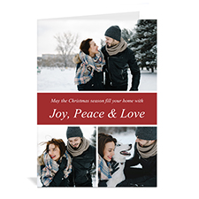 Custom Printed 3 Photo Collage More Than Merry  Red Greeting Card