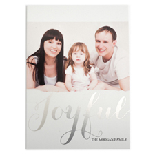 Foil Silver Joyful Personalized Photo Christmas Card