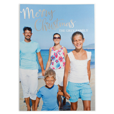 Foil Silver Merry Christmas Personalized Photo Card