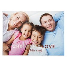 Foil Silver Christmas Love Personalized Photo Card