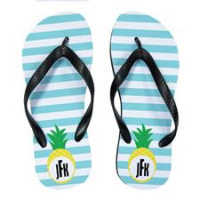 Aqua Stripe Pineapple Personalized Flip Flops, Women Medium