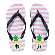 Carol Stripe Pineapple Personalized Flip Flops, Women Medium