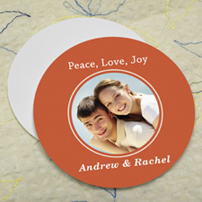 Orange Personalized Photo Round Cardboard Coaster