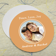 Grapefruit Personalized Photo Round Cardboard Coaster