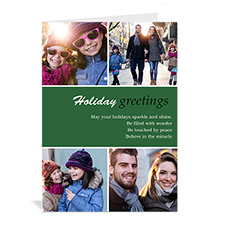 Custom Printed 4 Photo Collage Peace On Earth  Green Greeting Card