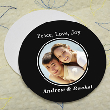 Black Personalized Photo Round Cardboard Coaster
