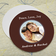 Chocolate Personalized Photo Round Cardboard Coaster