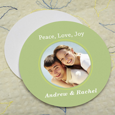 Aqua Personalized Photo Round Cardboard Coaster