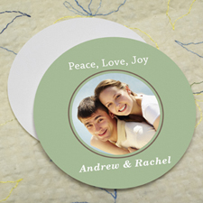 Green Personalized Photo Round Cardboard Coaster
