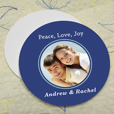 Navy Personalized Photo Round Cardboard Coaster