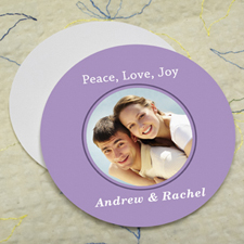 Lavender Personalized Photo Round Cardboard Coaster